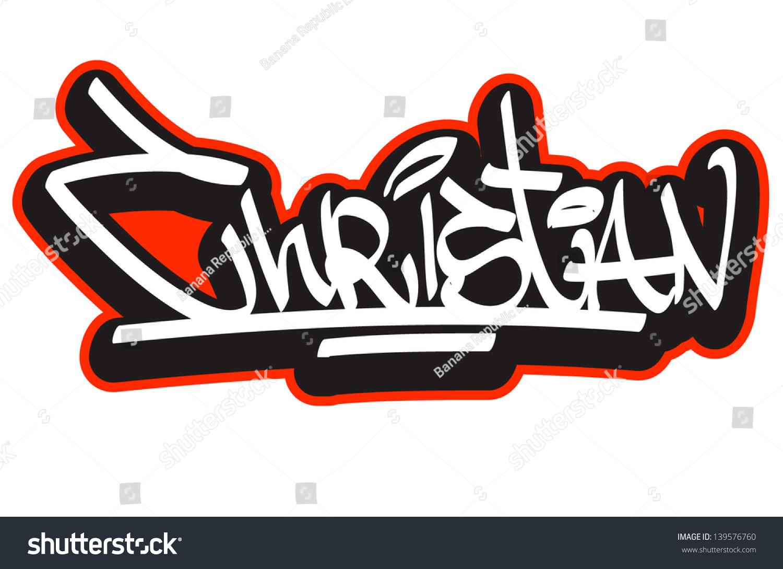 Christian graffiti font style name hip hop design template for t shirt