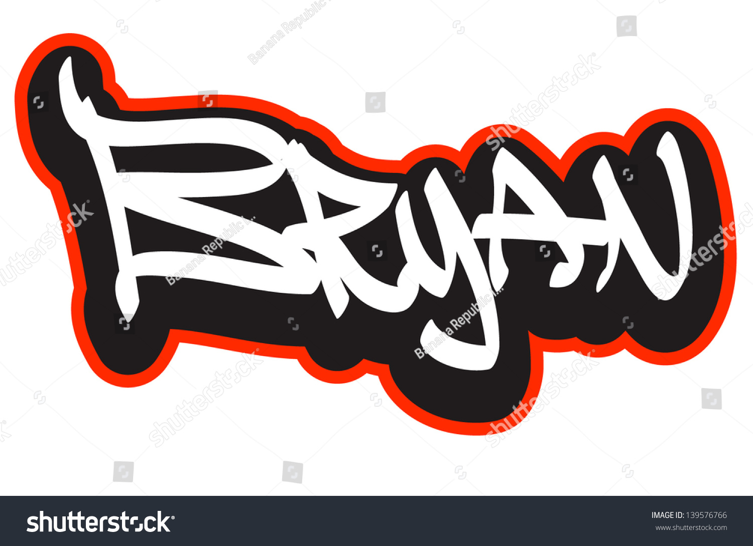 Bryan Graffiti Font Style Name Hip hop Design Template For T shirt