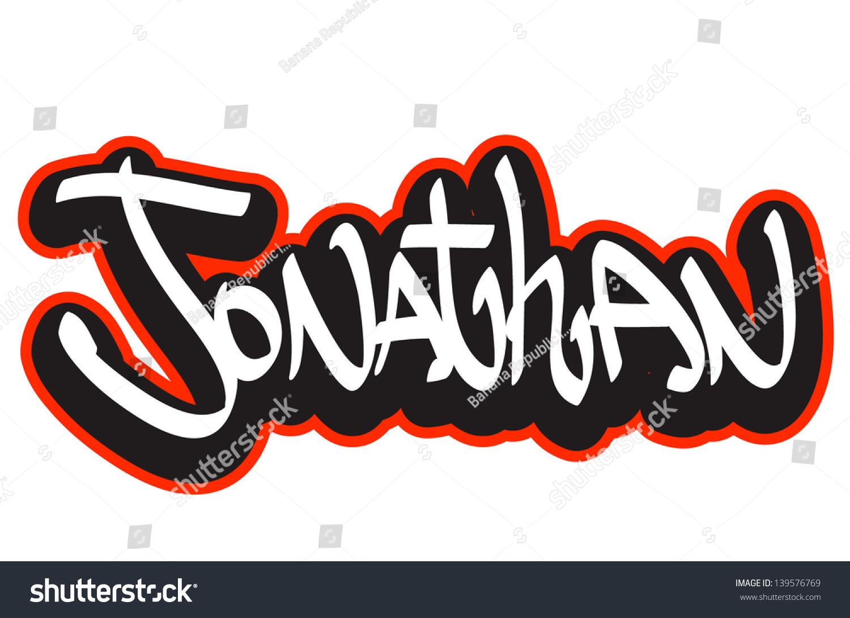 Jonathan graffiti font style name. Hip,hop design template for t,shirt,