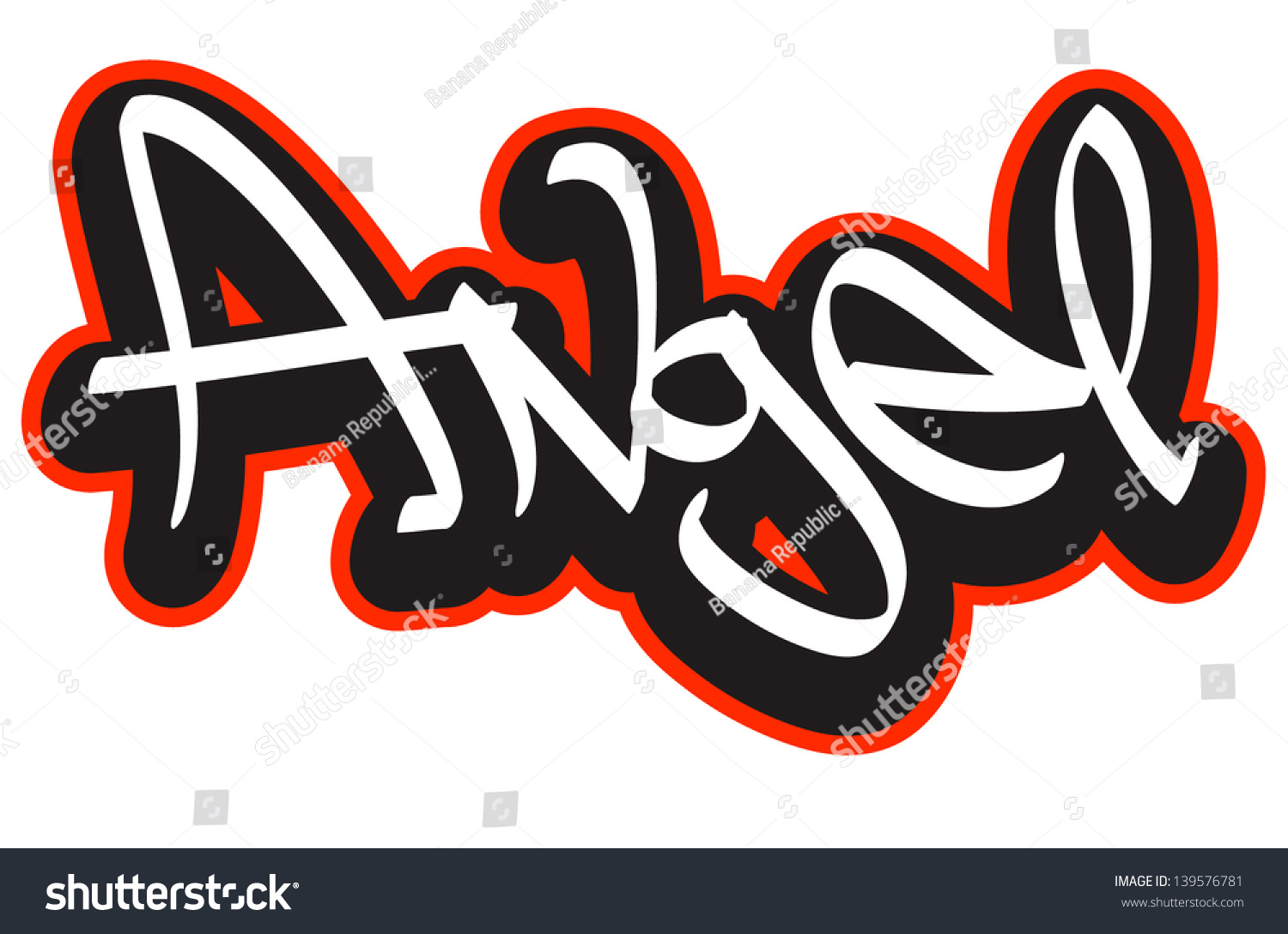 angel graffiti font style name hiphop stock vector