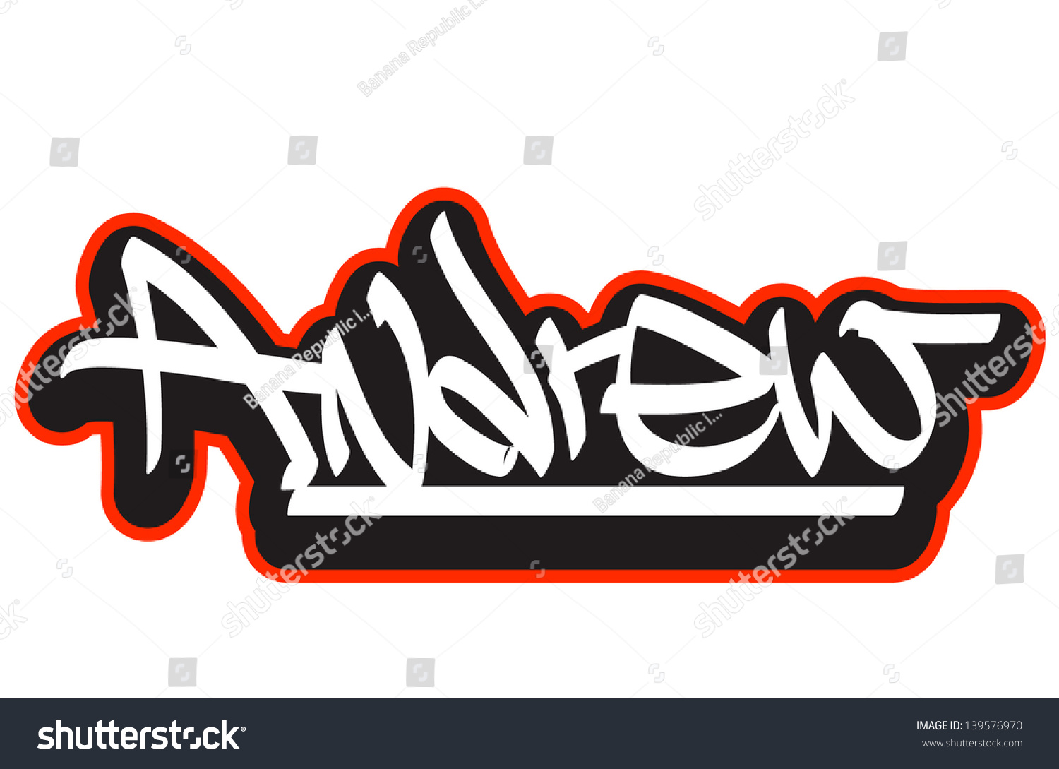 Andrew Graffiti Font Style Name Hiphop Stock Vector