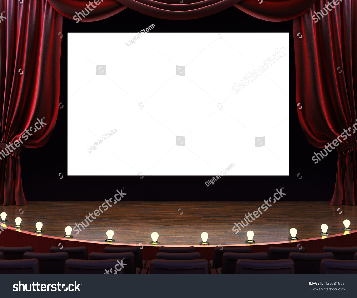 Real theater curtains - Cinema Movie Theater With Curtains Screen Seats And Lighted Stage Room For Text