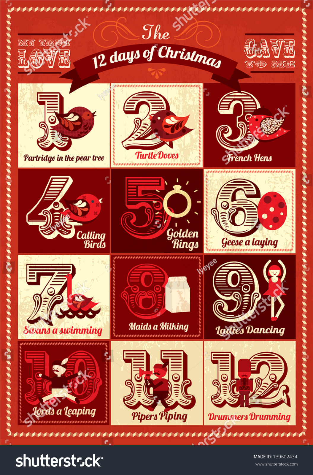 Christmas Calendar Illustration : Vintage twelve days of christmas calendar template vector
