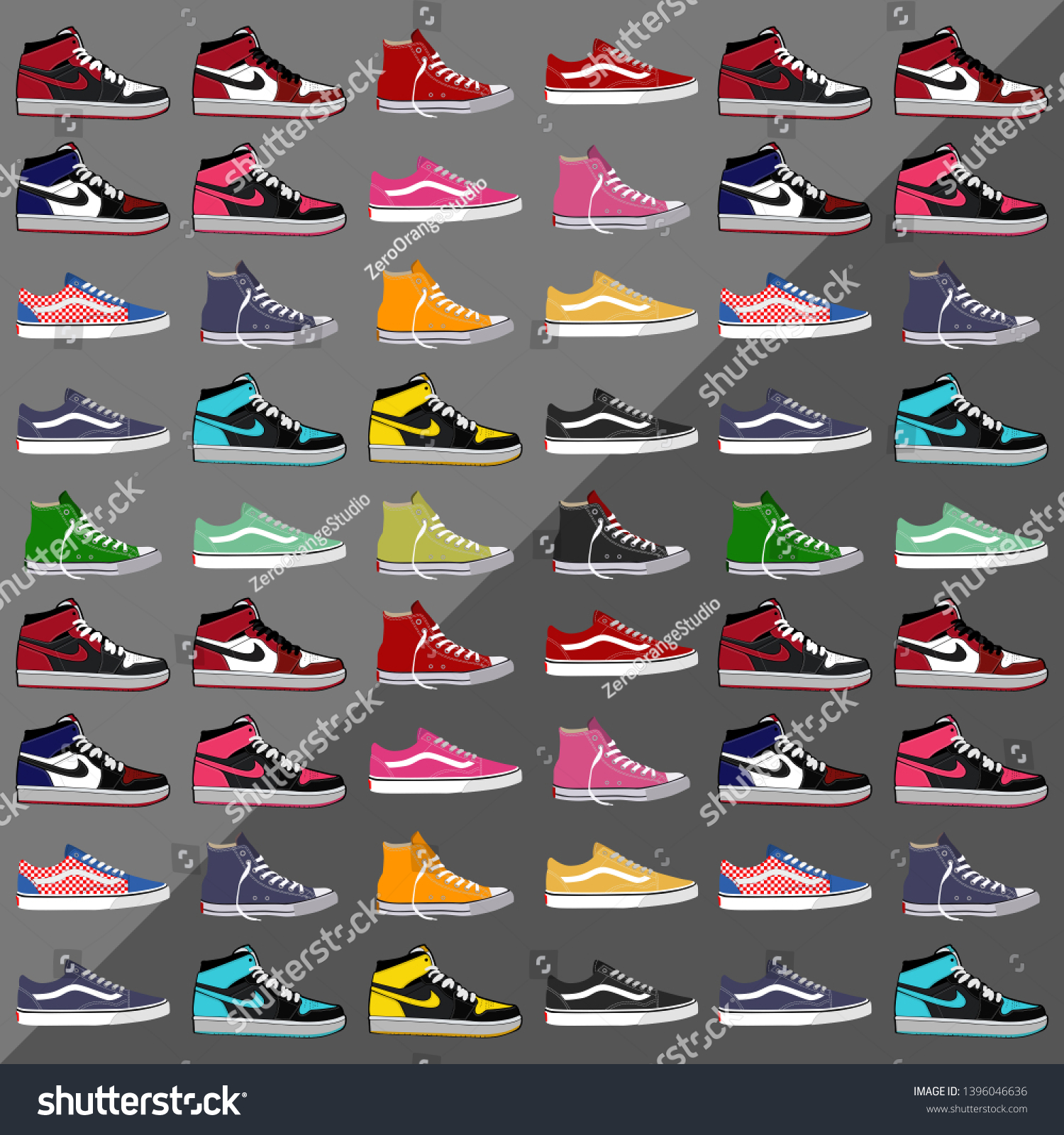 Vector Collection Cool Sneakers Vans Air Stock Vector (Royalty ...