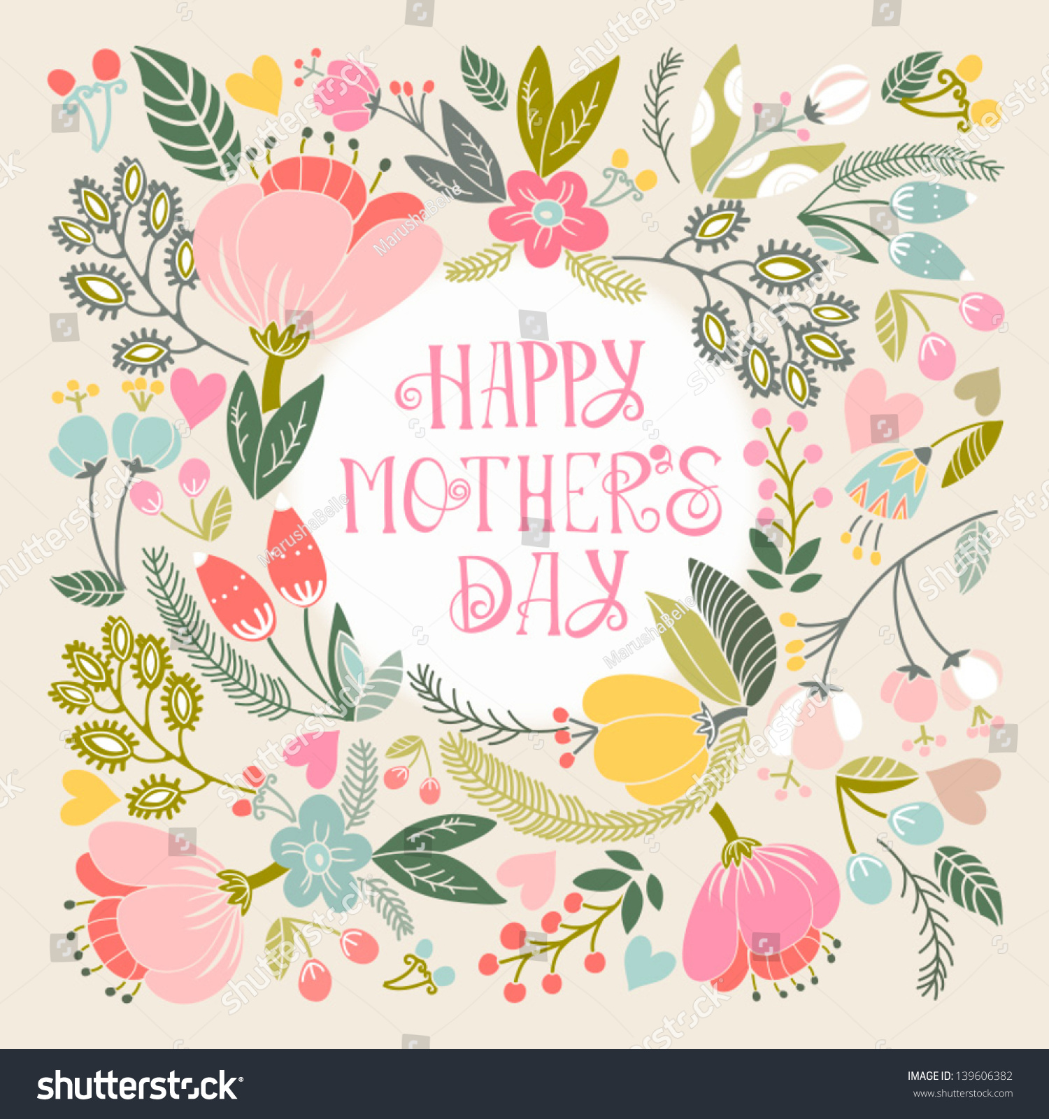 Beautiful Greeting Card Happy Mothers Day Bright Illustration Can Be Used As