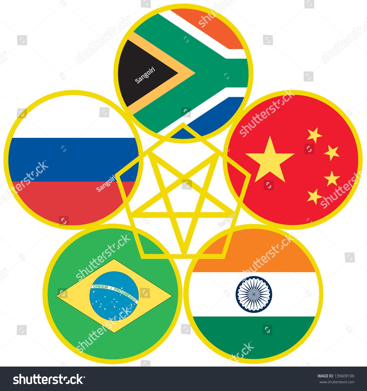 Symbol Brics Association Emerging National Economies Stock Vector