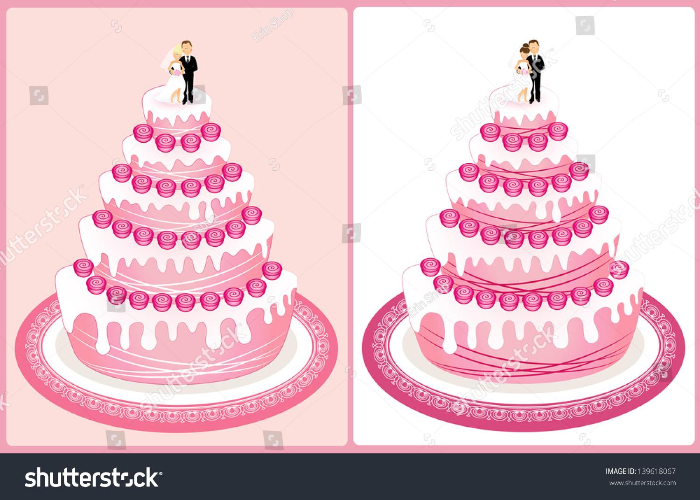 Pink Wedding Cake Bride Groom On Stock Illustration 139618067 ...
