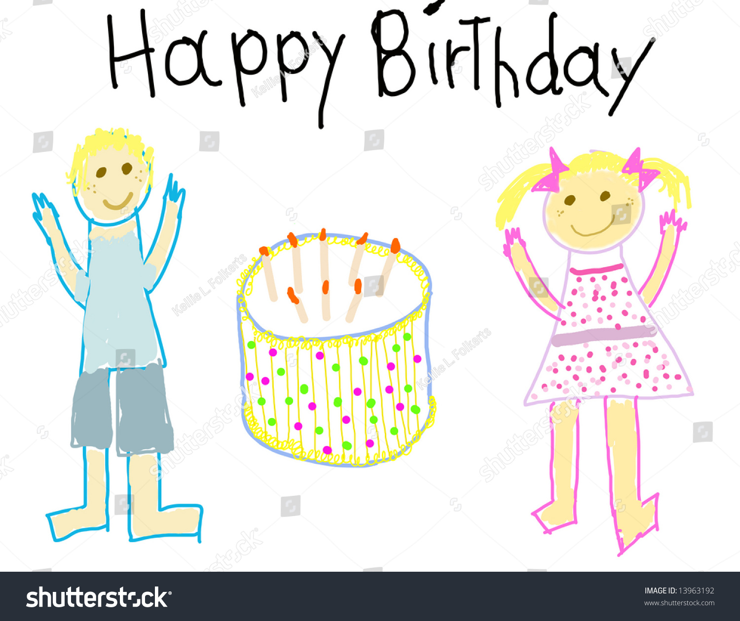 Child Like Drawing Of A Boy Girl With Happy Birthday Msg