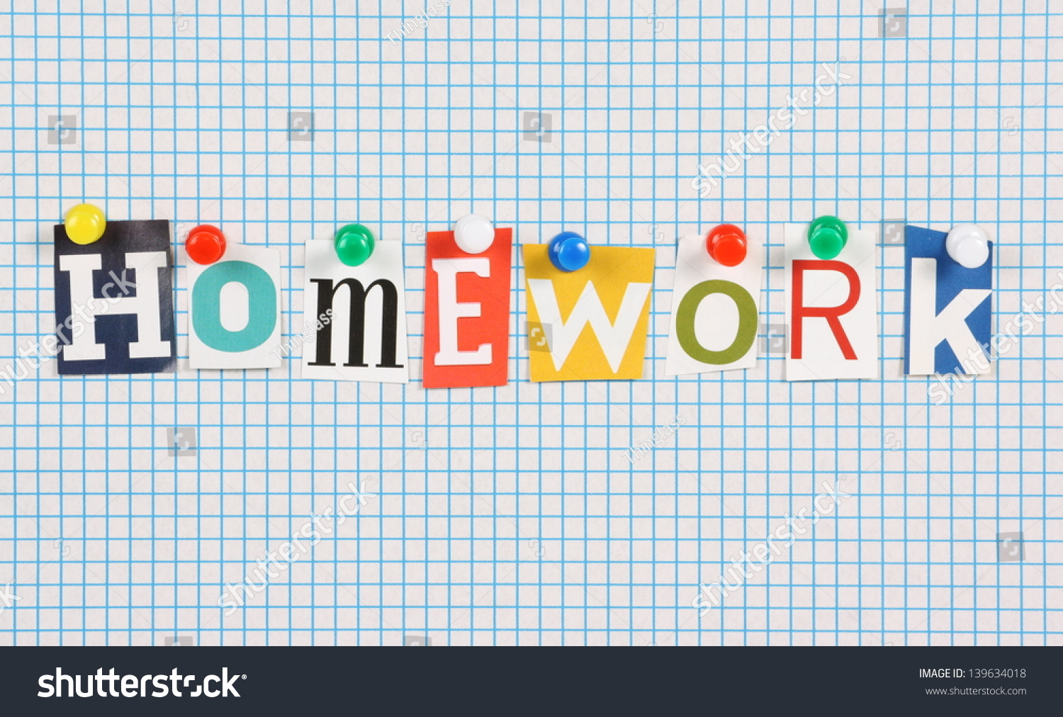 Word Homework Cut Out Magazine Letters Photo 139634018 – Graph Paper Word