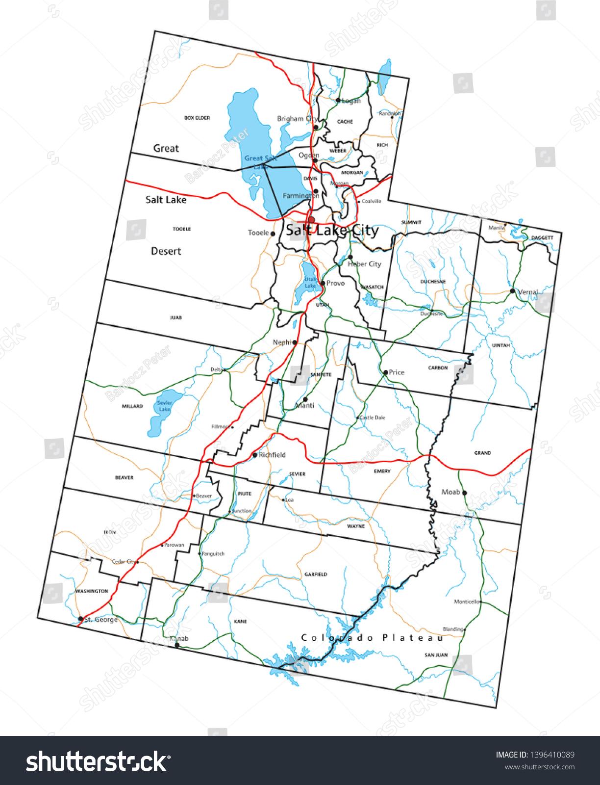 Utah Road Highway Map Vector Illustration | Transportation ...