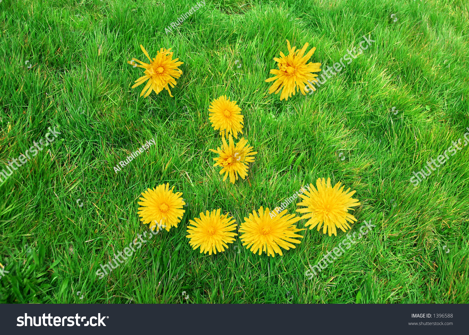 Green Smiley Face Stock Photos: Smiley Face Sign Formed By Yellow Flowers On Green Grass