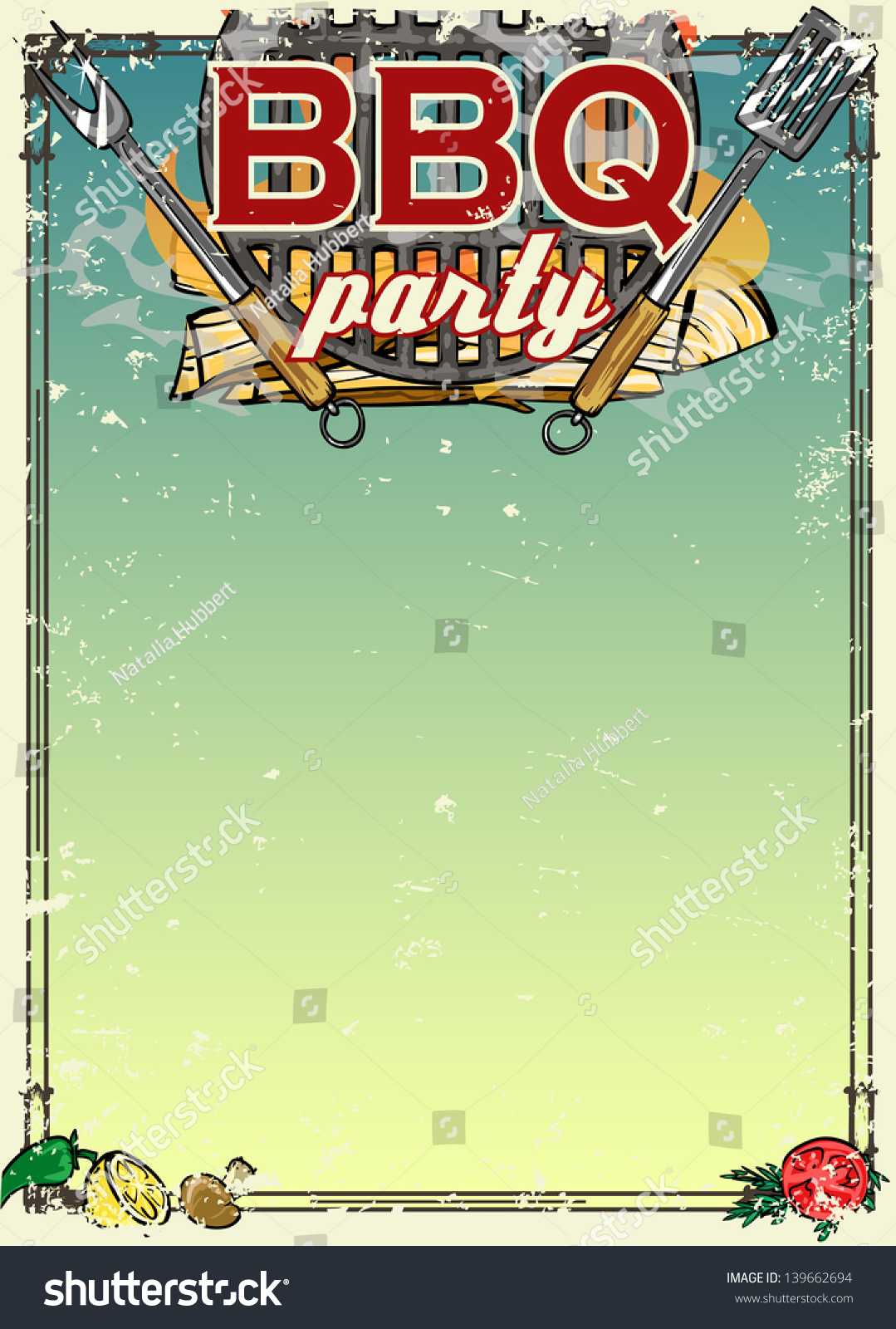 Barbecue Party Invitation Space Text Bbq Vector 139662694 – Space Party Invitation