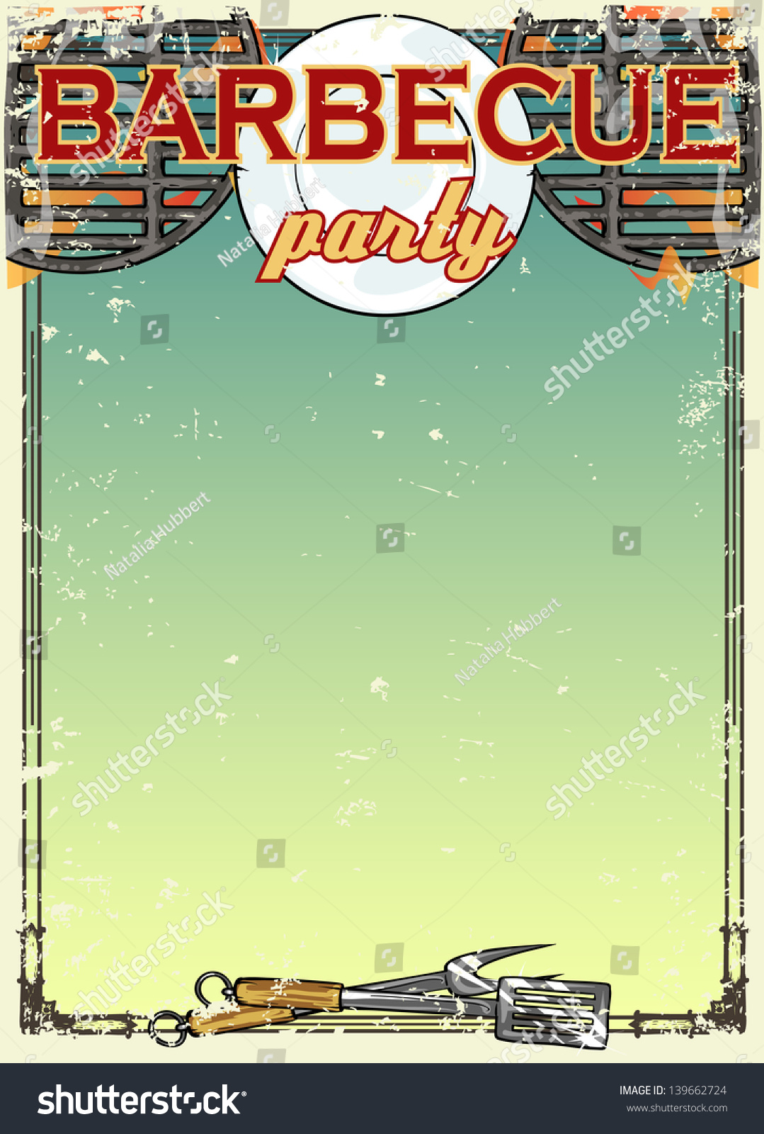 Barbecue Party Invitation With Space For Text, Bbq Grill ...