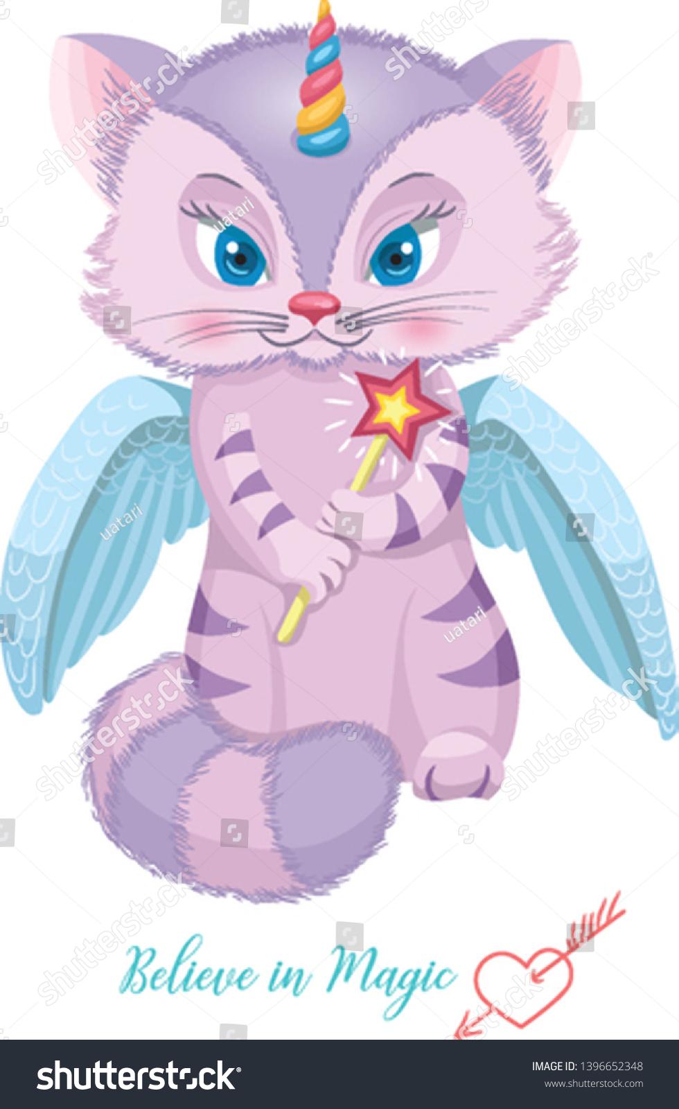 Childrens Wallpaper Cute Cat Unicorn Illustration Stock Vector Royalty Free 1396652348
