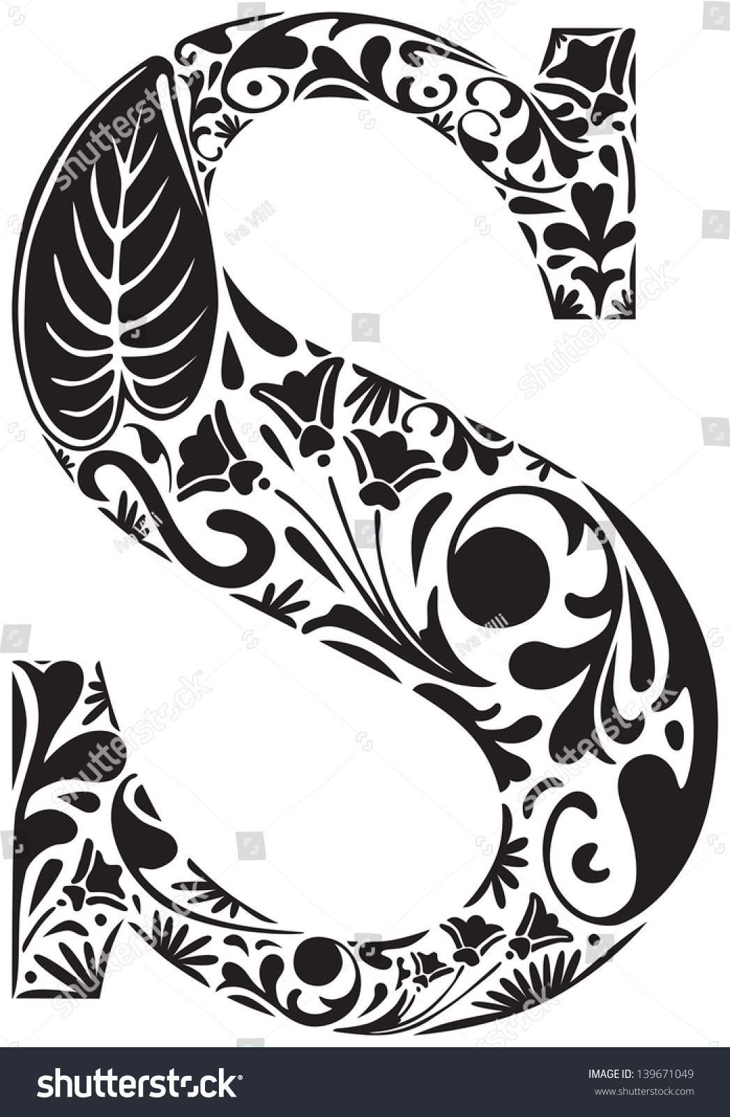floral initial capital letter s stock vector 139671049 olive branch clipart transparent olive branch clip art borders free