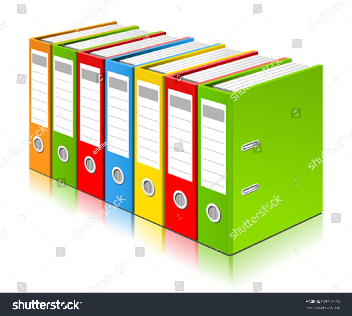 Colorful Ring Binders Full Office Documents Stock Vector 139718665 ...