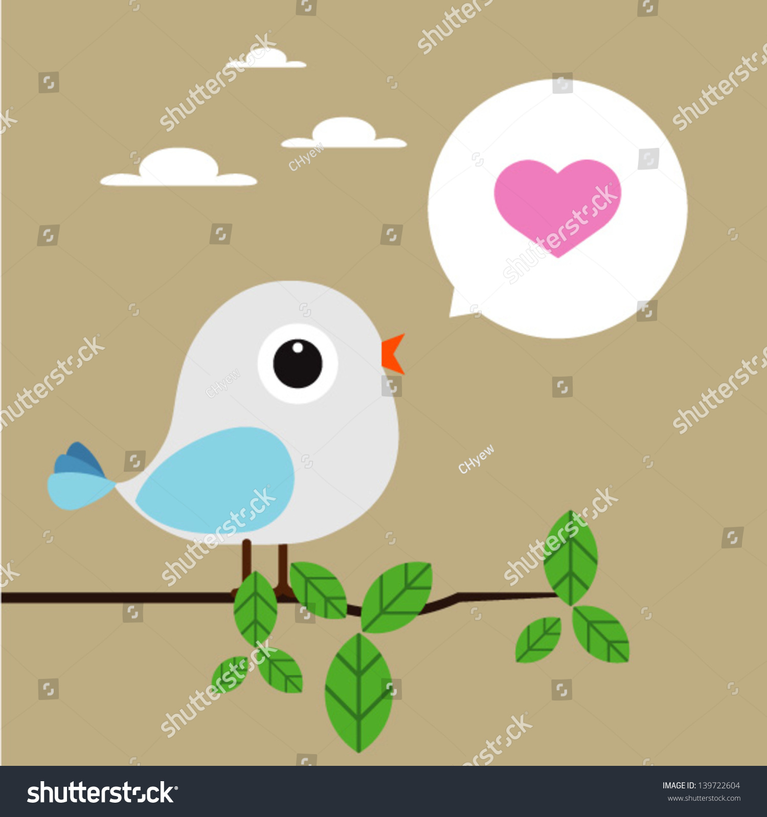 Bird Love Card Valentine Day Vector 139722604 Shutterstock – Bird Valentine Card