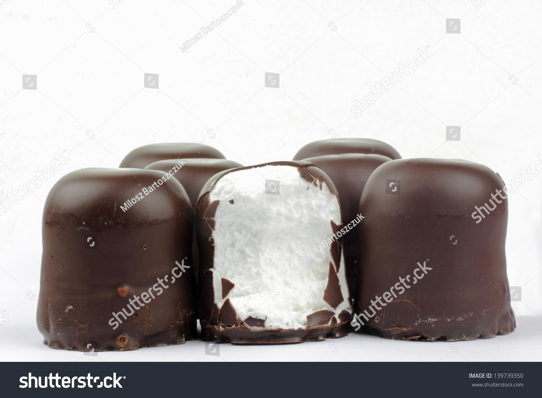 Chocolate Covered Marshmallows German Schokokuss Stock Photo ...