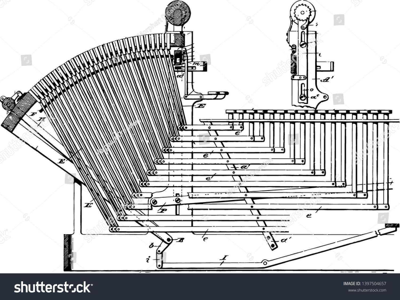 This Illustration Represents Linotype Machine Line Stock