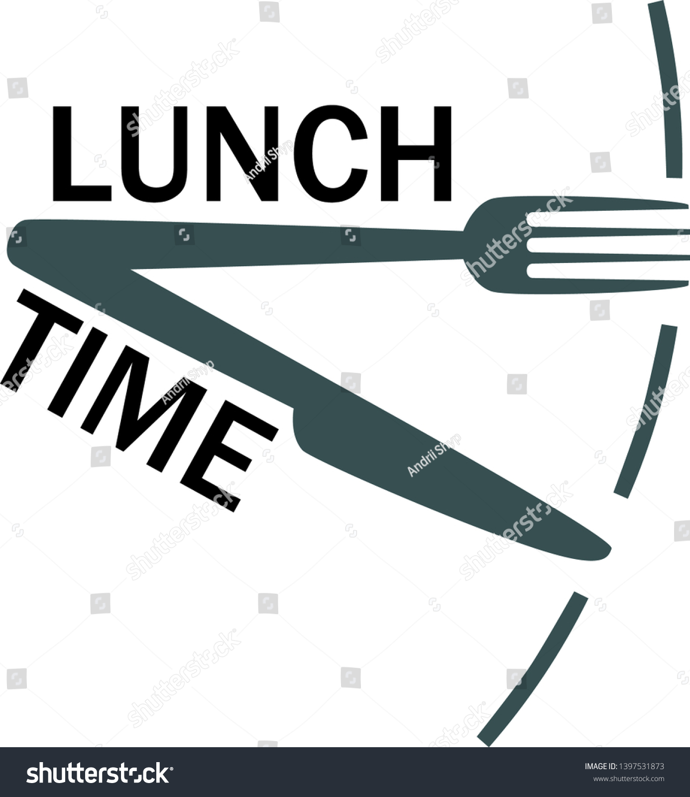 Lunch time, meal text with fork and knife. Isolated icon. Lunch break. Fork knife as clock hands. Flat vector illustration.