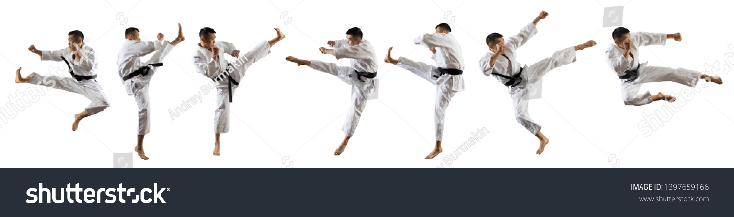 Martial arts masters, karate practice. Isolated on white background #1397659166