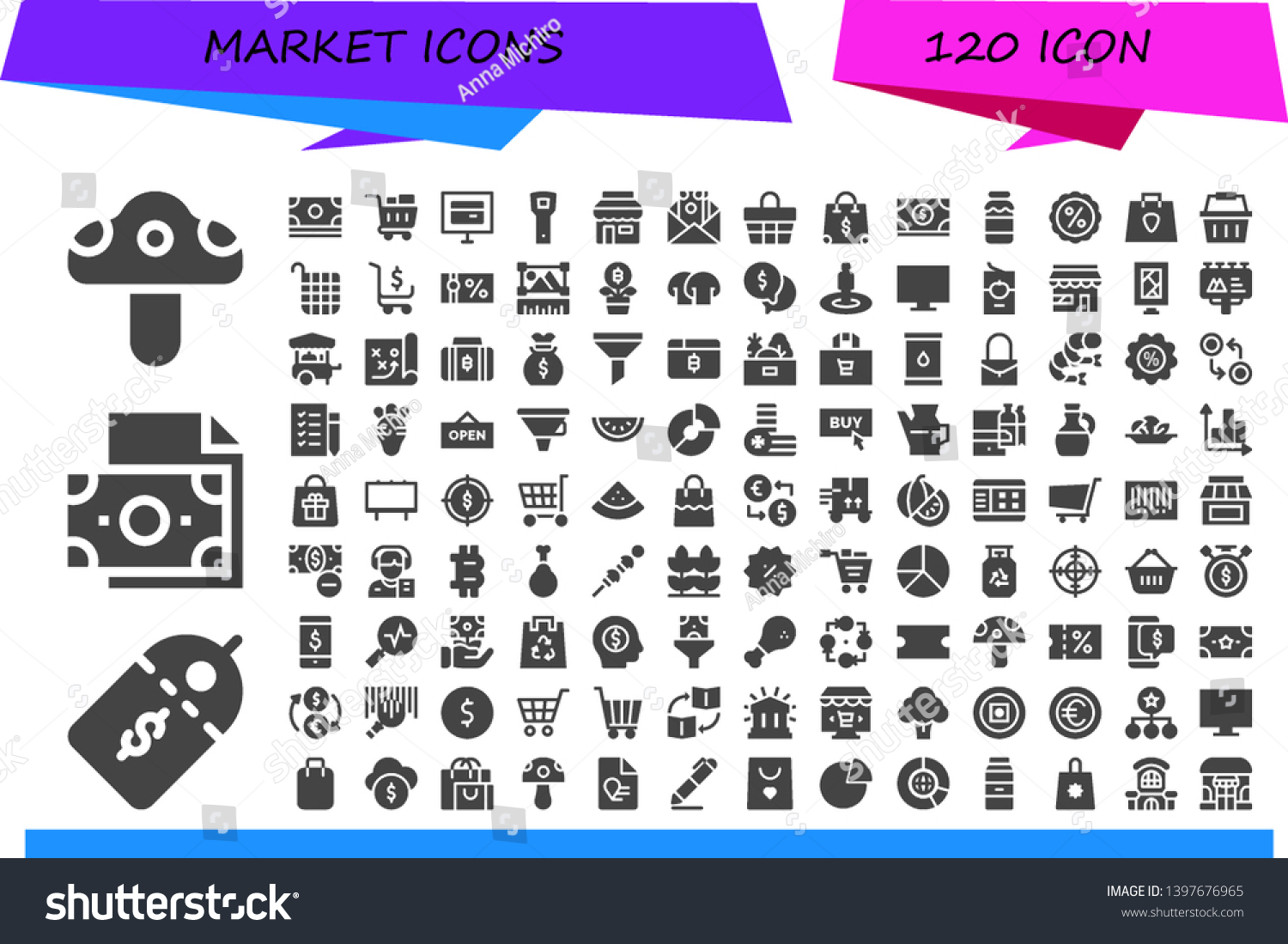 Market Icon Set 120 Filled Market Stock Vector (Royalty Free