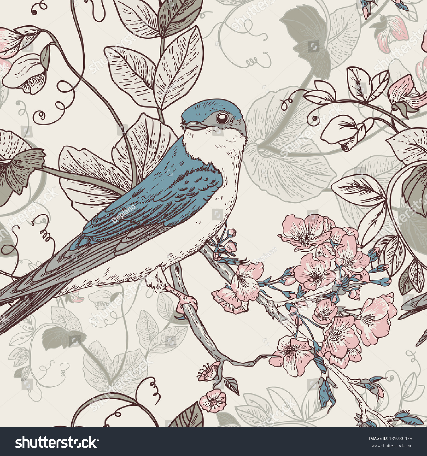 Seamless Floral Background Bird Wallpaper Vintage Vintage