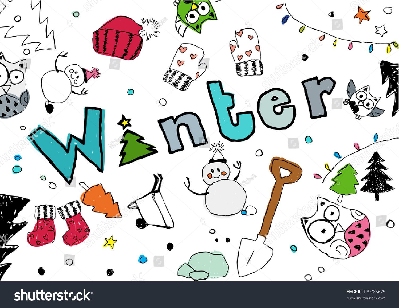 handdrawing season text winter stock illustration