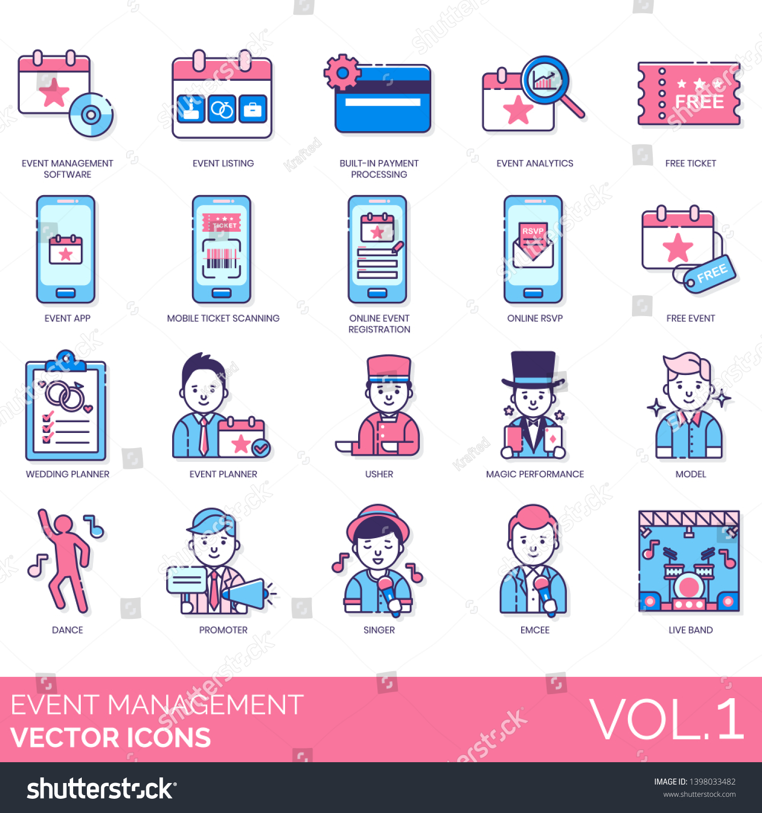 Event Management Icons Including Software Listing Stock