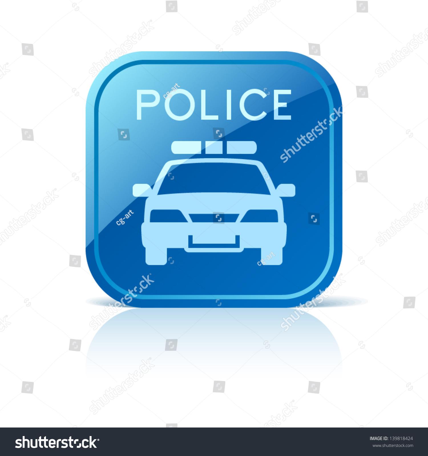 Police Car Icon On Blu...