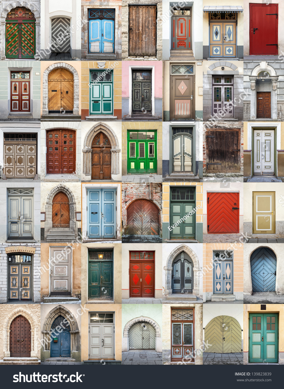 Clip-Art with big set of colorful wooden doors and gates from old town of & Clipart Big Set Colorful Wooden Doors Stock Illustration 139823839 ... Pezcame.Com