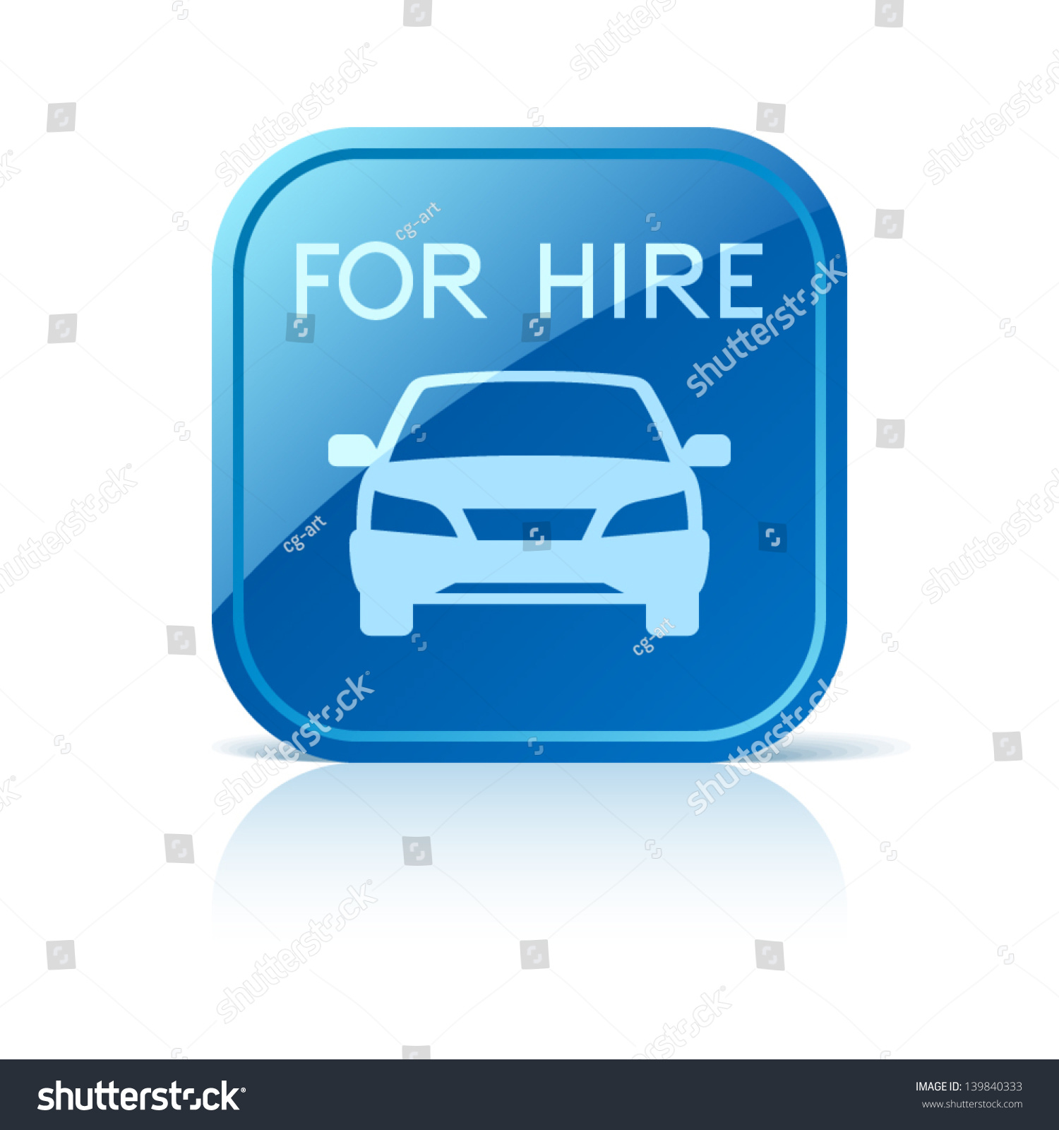 Car Hire Icon On Blue Square Stock Vector 139840333 Shutterstock