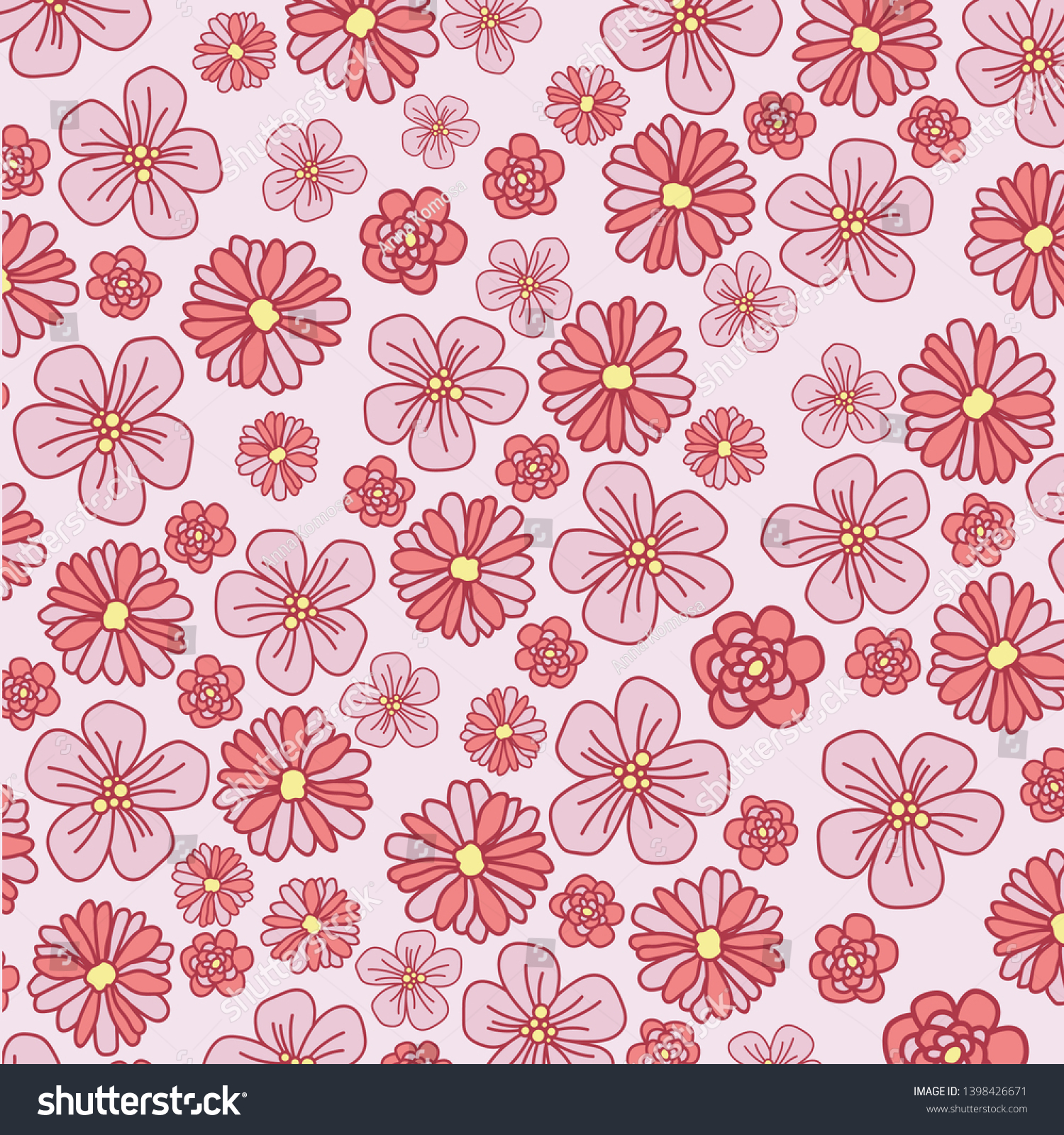 Beautiful Cute Floral Pattern Pink Flowers Stock Vector Royalty
