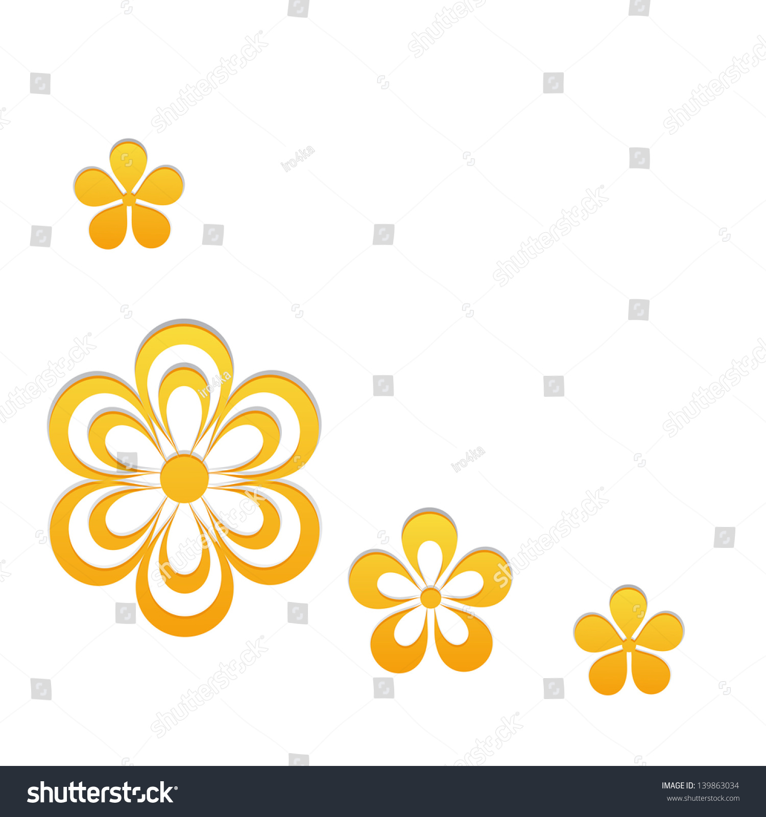 Greeting Card Border Yellow Flowers Stock Vector Royalty Free