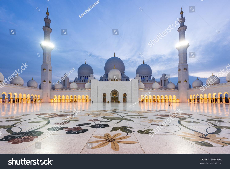 Exterior: Sheikh Zayed Grand Mosque Dusk Abudhabi Stock Photo