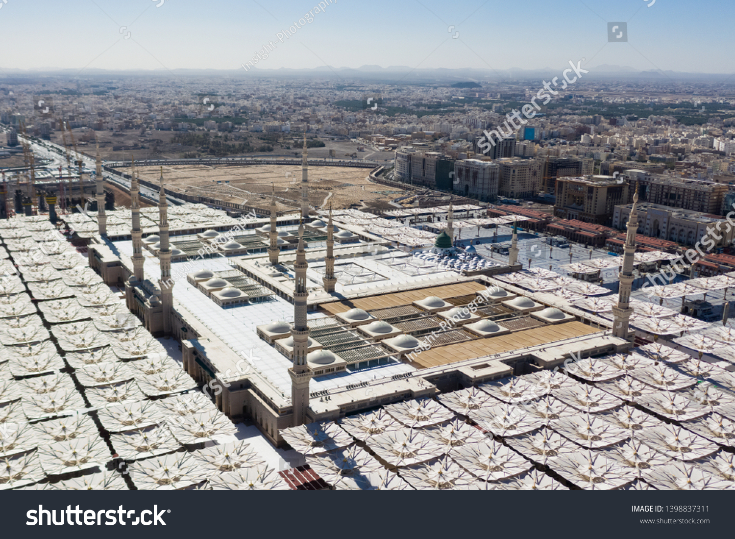 Aerial View Masjid Nabawi Madinah Second Stock Photo Edit Now 1398837311