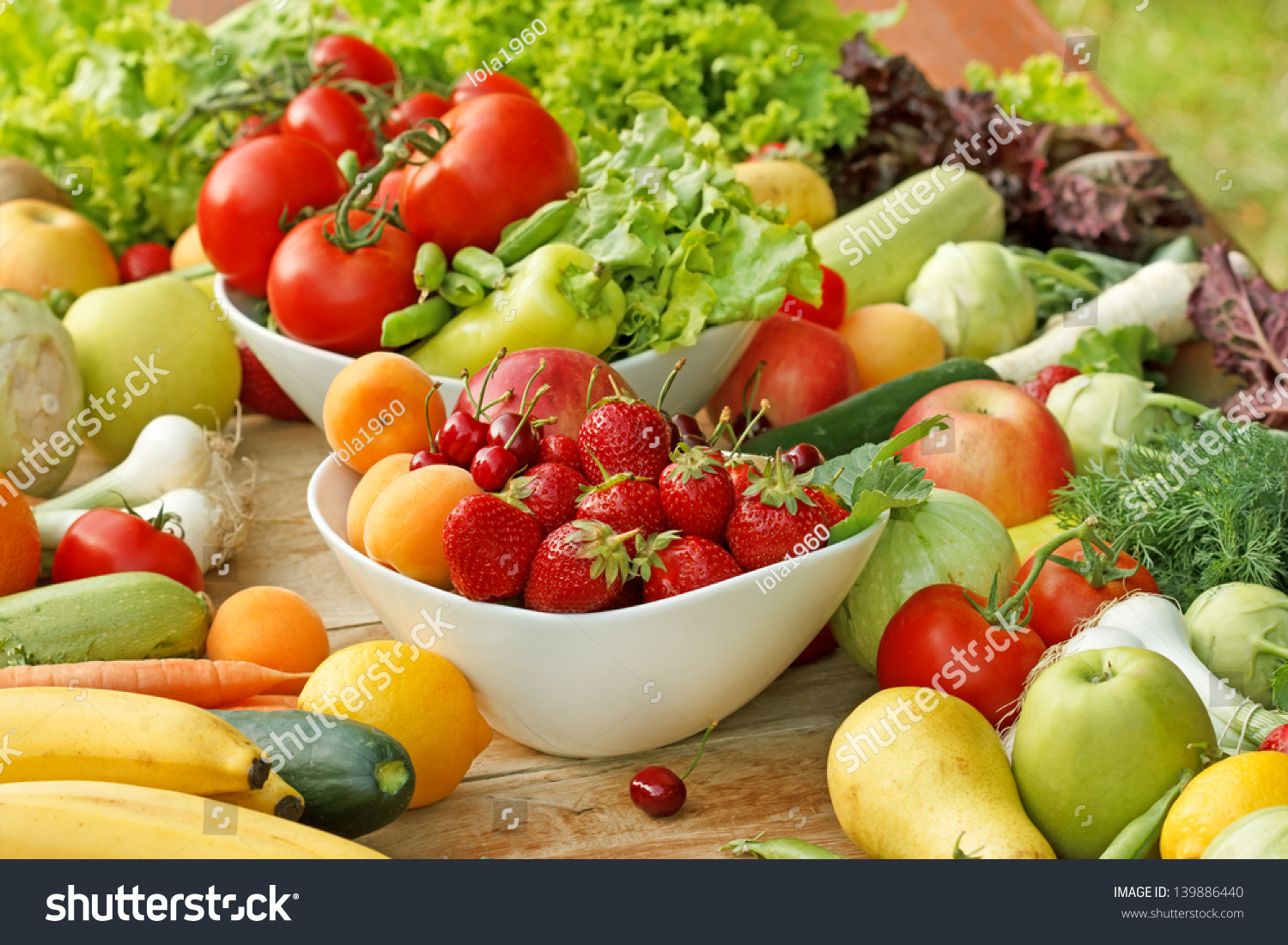 Fresh Fruit And Vegetable - Healthy Food Stock Photo ...