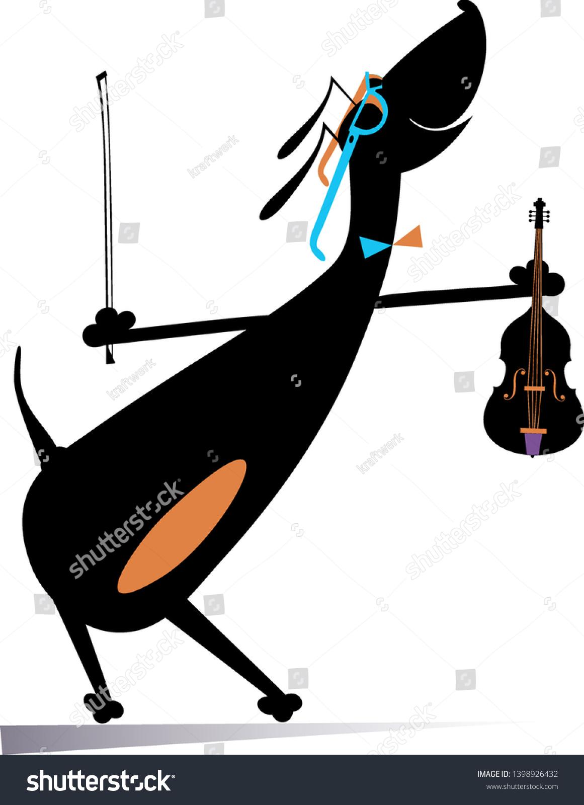 Cartoon Dog Plays Violin Illustration Comic Stock Vector