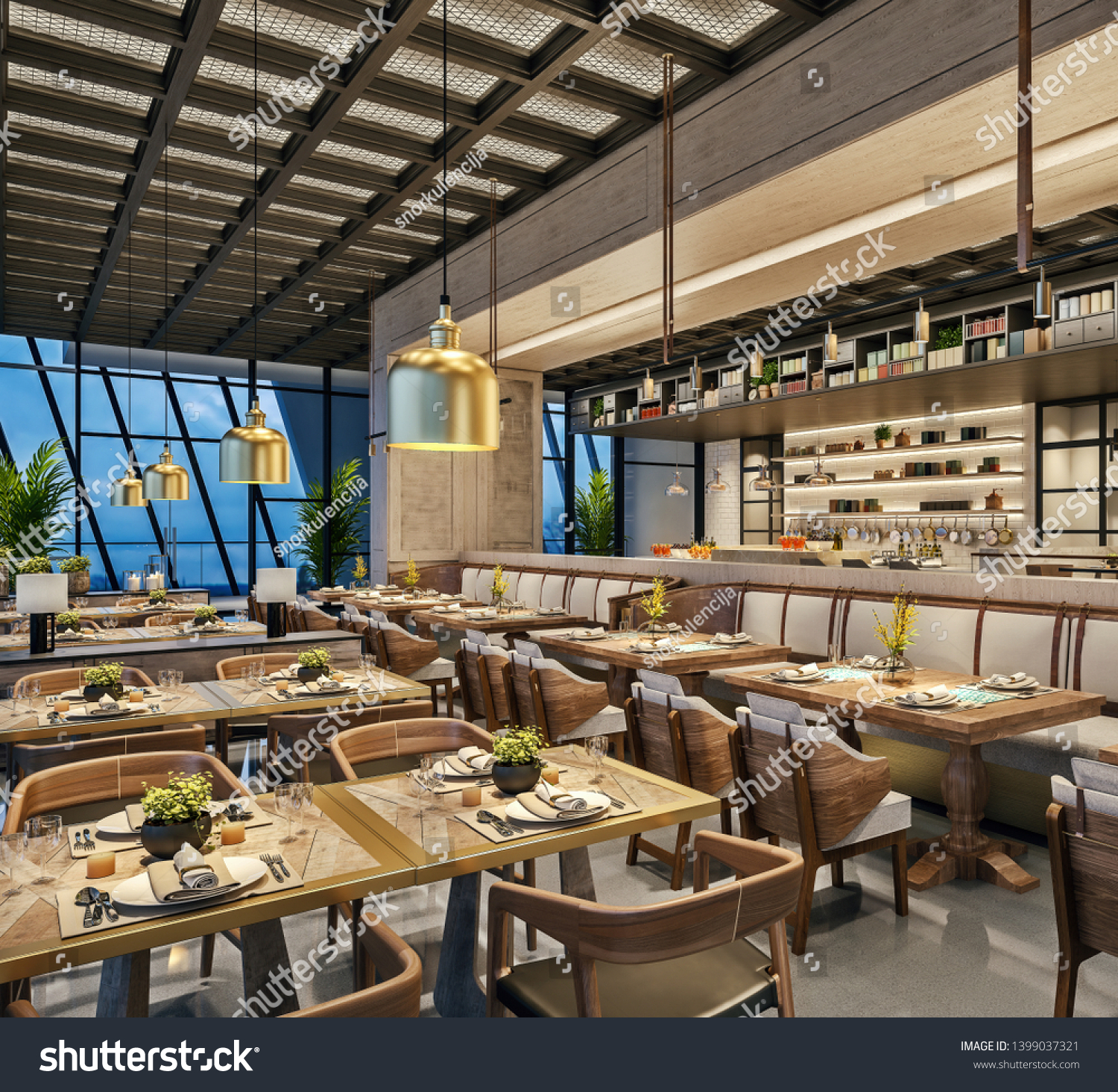 Modern Interior Design Restaurant Lounge Oriental Stock Illustration 1399037321
