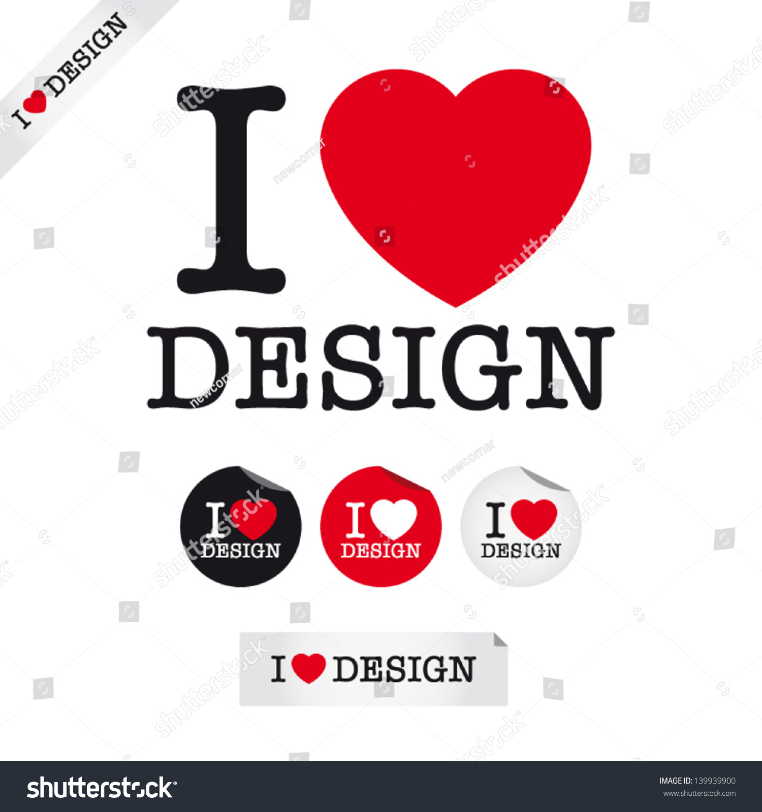 Love Design Font Type Signs Stickers Lager Vektor