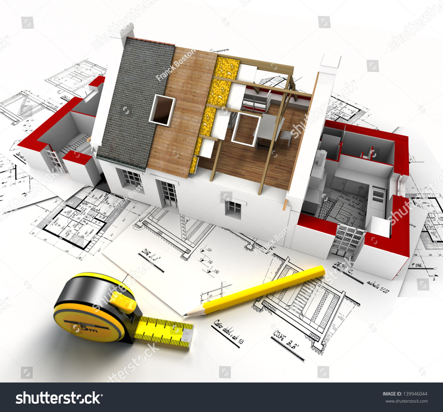 Aerial view house under construction blueprints stock for Architecture drawing tools