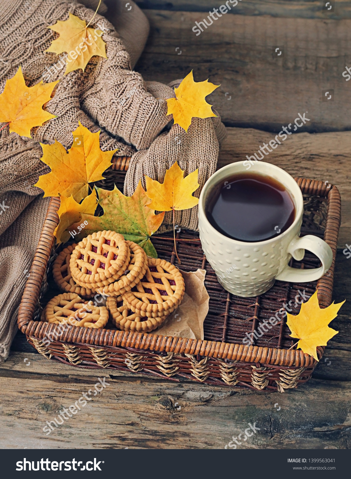 Cup Tea Coffee Cookies Sweater Autumn Stock Photo Edit Now 1399563041