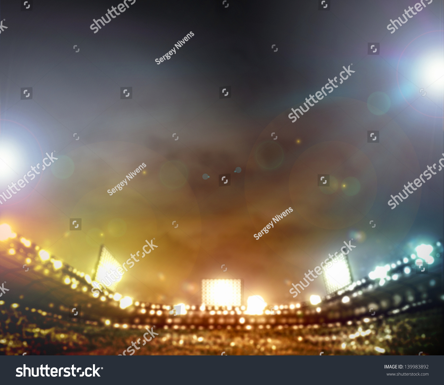 Stadium Of Lights: Image Of Stadium In Lights And Flashes Stock Photo