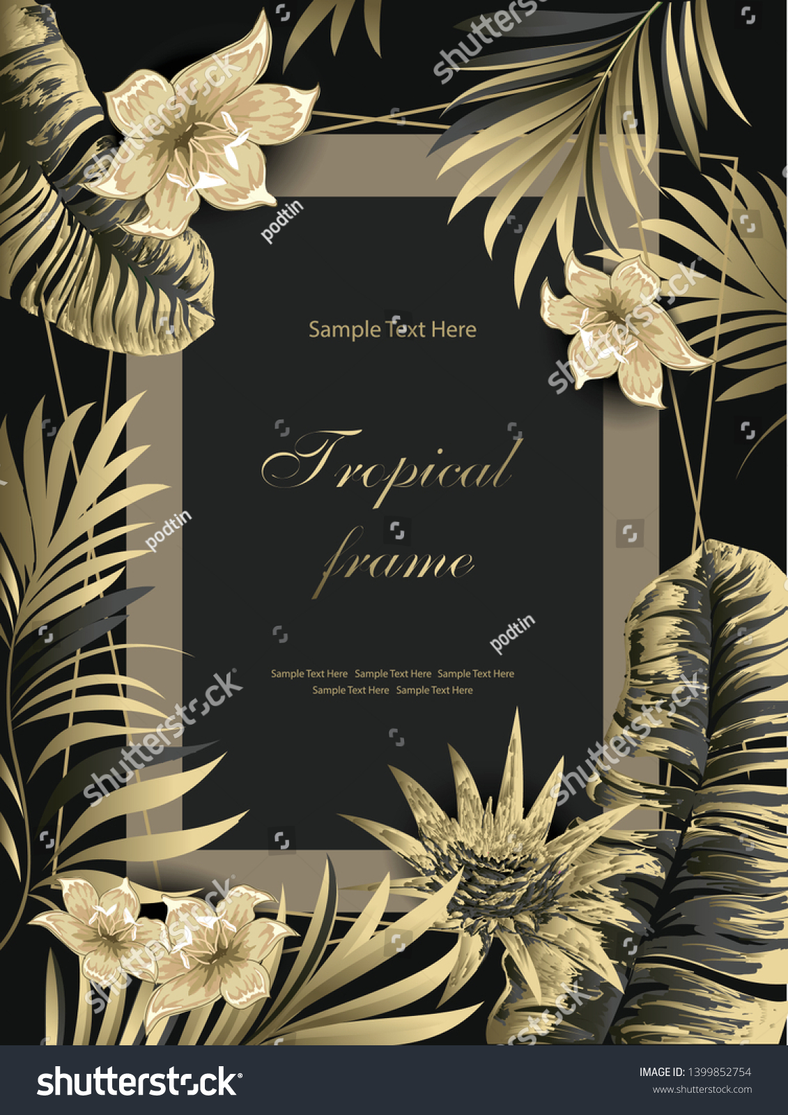 Palms Flowers Golden On Black Background Stock Vector (Royalty Free)  1399852754