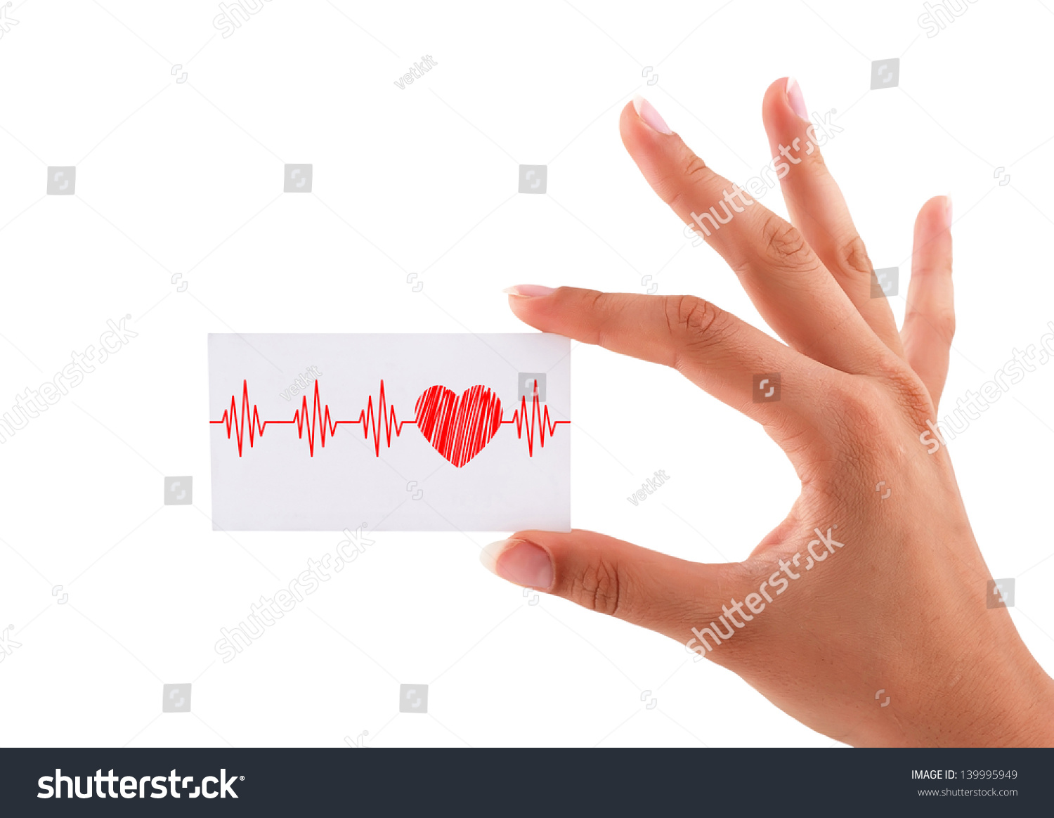 Business Card Heartbeat Hand Stock Illustration 139995949 ...