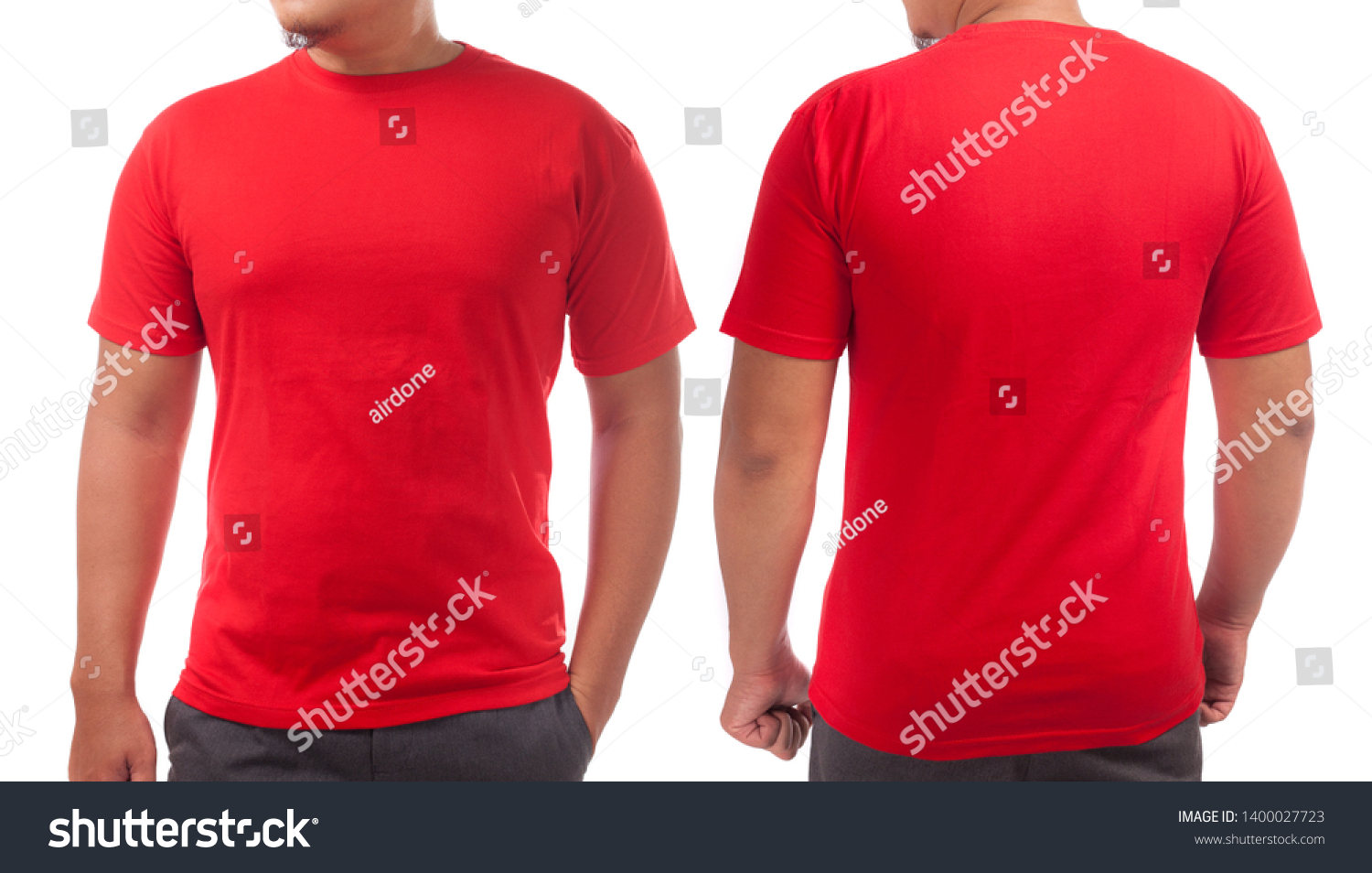 Red Tshirt Mock Front Back View Stock Photo Edit Now 1400027723