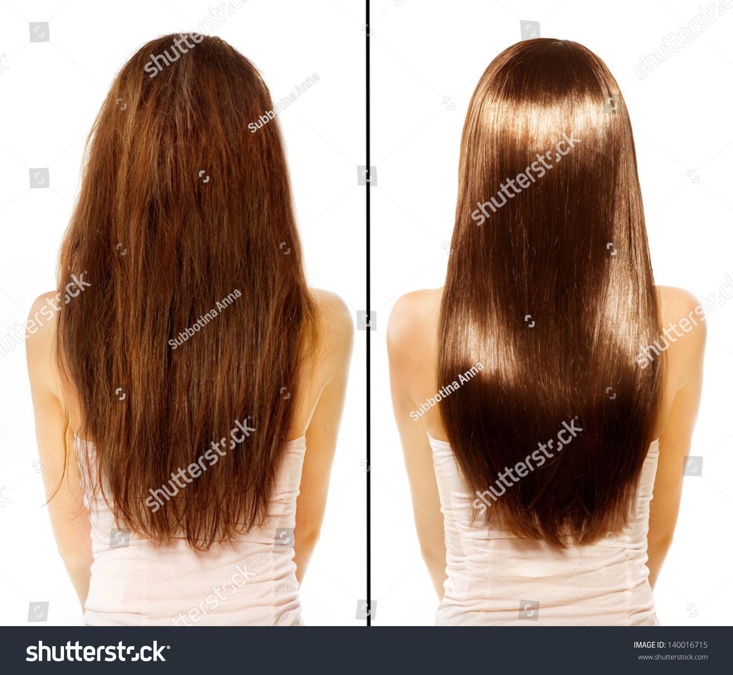 Hair Before After Advertising Portrait Hairstyle Stock