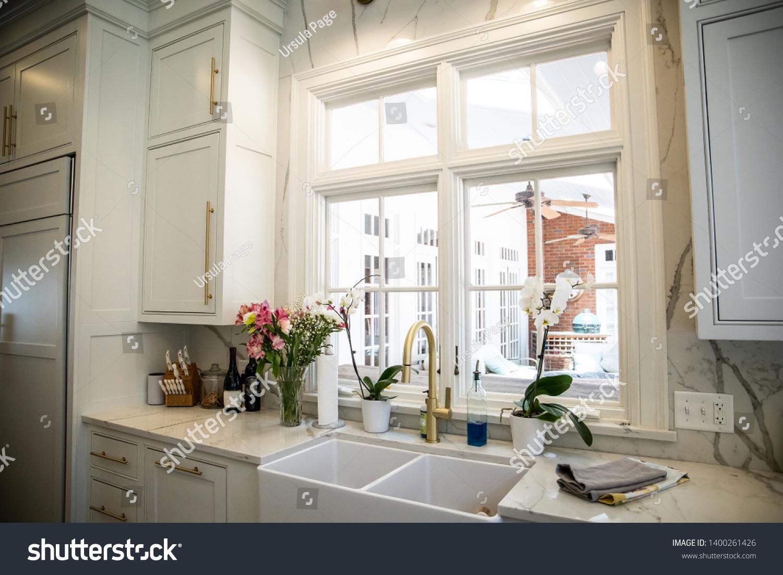 Updated Modern Farmhouse Kitchen Ceramic Sink Stock Photo Edit Now 1400261426