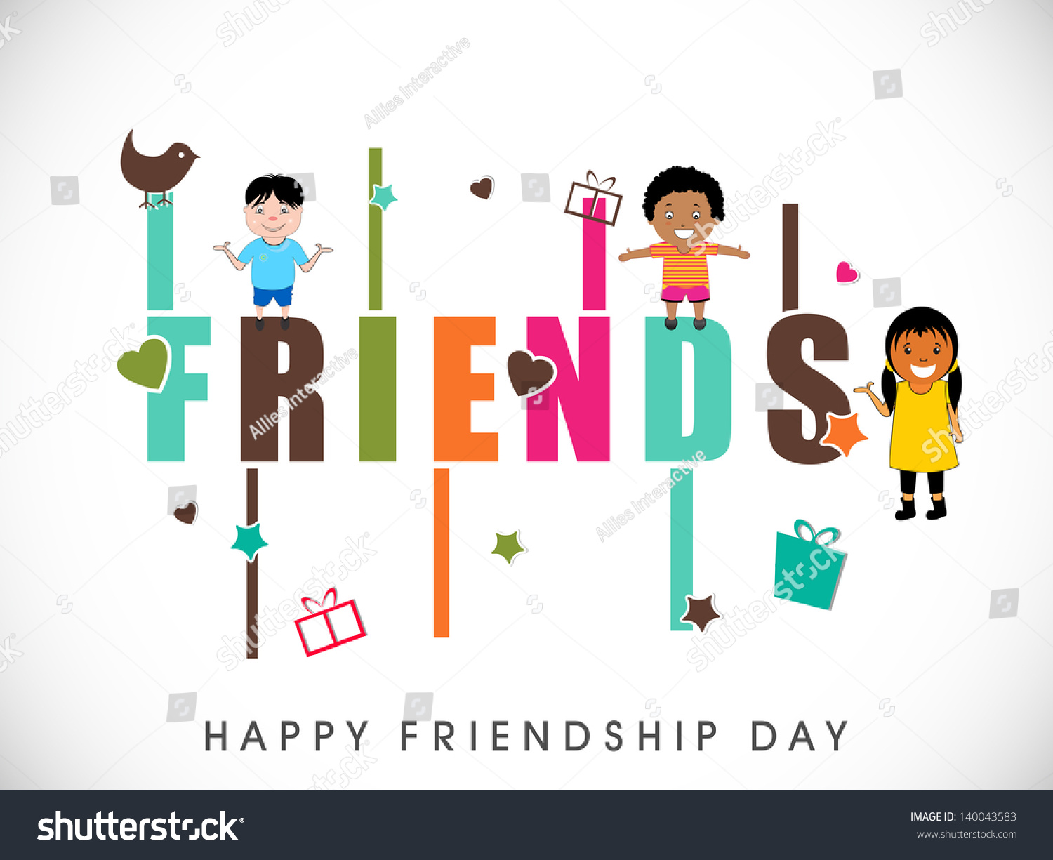happy friendship day background cute little stock vector royalty