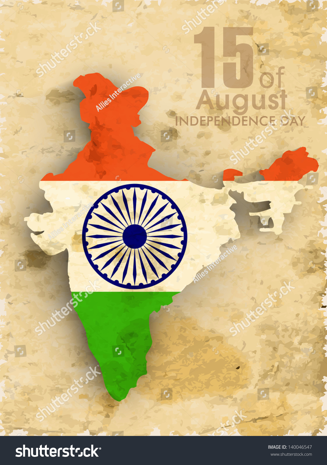 Colors website ashoka - Republic Of India Map In National Flag Colors With Text Ashoka Wheel On Grungy Brown Background